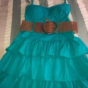 Bebe Ruffle Mini Dress with Belt